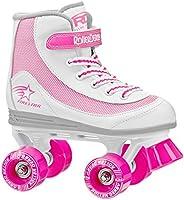 Roller Derby 1978-02 Youth Girls Firestar Roller Skate, Size 2, White/Pink