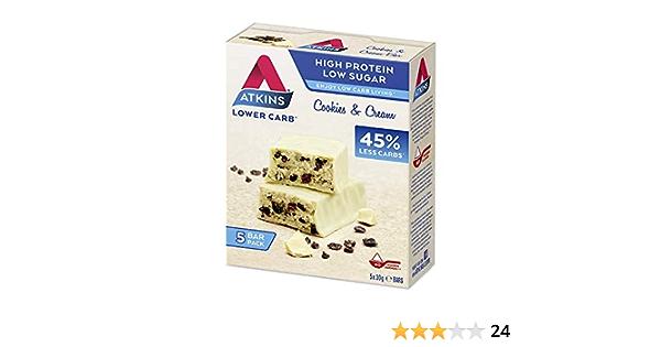 Atkins Advantage Cookies & Cream Barritas, Paquete de 5 x 30 gr