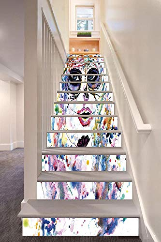 Sugar Skull Decor 3D Stair Riser Stickers Removable Wall Murals Stickers,Halloween Girl with Sugar Skull Makeup Watercolor Painting Style Creepy Decorative,for Home Decor 39.3