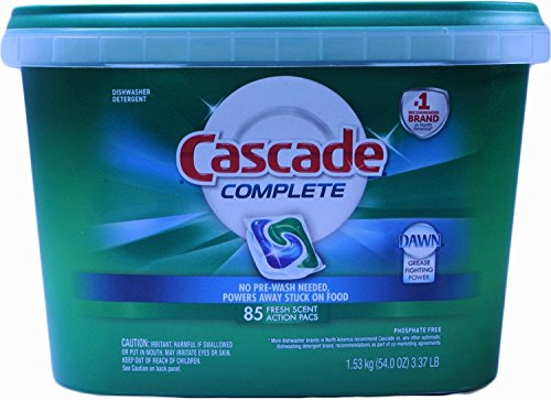 Cascade Complete Dishwasher Detergent, with Dawn Grease Fighting Power, 85 Fresh Scent Action Pacs