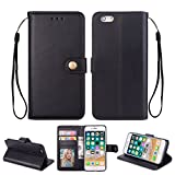 Ostop iPhone 6S Plus Case,iPhone 6 Plus Leather Wallet Case,Black Classic Oil Wax PU Stand Purse Credit Card Slots Holder Flip Stylish Simple Cover Retro Metal Clasp