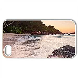 beautiful beach on praslin island in the seychelles - Case Cover for iPhone 4 and 4s (Beaches Series, Watercolor style, White)