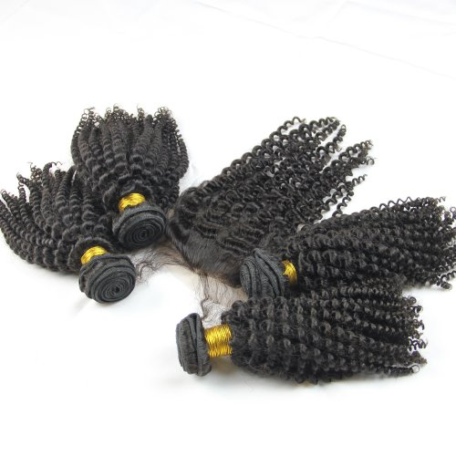 ALI HOT Hair Mongolian 1 Piece Lace Top Closure 16inch and 4Pcs Hair Bundles 18inch,5pcs/lot,Mongolian Virgin Remy Kinky curly Hair Extension