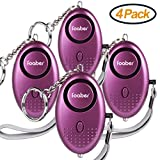 Foaber 4 Pack 130 dB Emergency Personal Alarm Keychain Self Defense for Elderly Kids Women Night Workers Anti-theft Safe Sound Alarms (Purple)