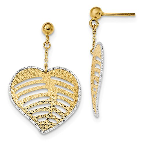14k Two Tone Yellow Gold Textured Filigree Heart Drop Dangle Chandelier Post Stud Earrings Fine Jewelry Gifts For Women For Her ()