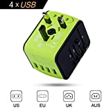 #5: International Power Adapter, Universal Travel Adapter, Travel Plug Adapter, Worldwide Wall Charger, All In One Travel Outlet Adapter with 4 USB 3.4A, for UK, EU, US, AUS, and more 170 countries