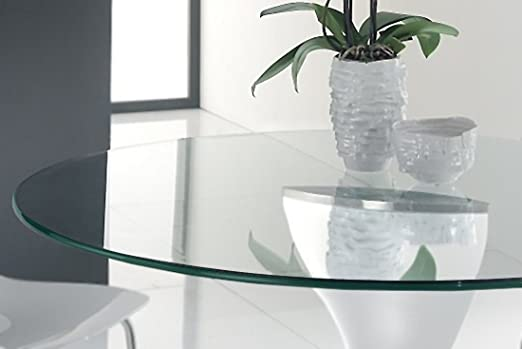 Troysys Round Glass Table Top 3 8 10 Thick Polish Pencil Tempered Glass Amazon De Kuche Haushalt