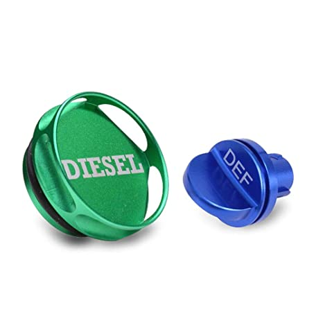 Henzxi Dodge Fuel System Cap Magnetic Ram Diesel Billet Aluminum Green Fuel Cap and Non-magnetic Blue DEF Cap Combo Pack for 2013-2018 Dodge Ram Truck 1500 2500 3500