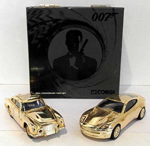 GOLD-PLATED ASTON MARTIN GIFT SET * Aston Martin DBS / Goldfinger & Aston Martin V12 Vanquish / Die Another Day * 2005 Corgi Classics 1:36 Scale Die-Cast Vehicles
