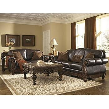 Ashley North Shore 2 Piece Leather Sofa Set In Dark Brown