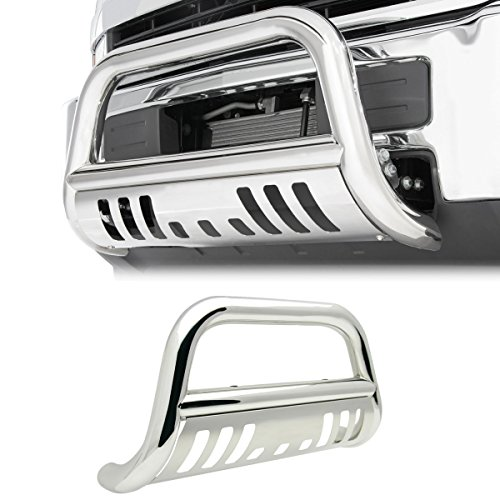 4X4TAG Premium Quality Mirror Polish Stainless Steel Bull Bar Fits Chevy/GMC C/K Pickup 1988-1998 (Bumper Grille Guard with Skid Plate and Optional Light Holes)