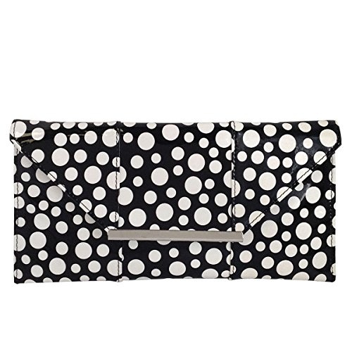 - Polka Dot Patent Envelope Clutch, Black