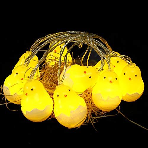 Herefun Cadena de Luces LED, 1.5M 10 Luces LED para Pascua Pollito de Pascua, Decoración para Pascua Fiesta de…