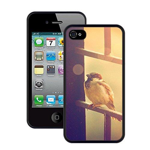 Spatz | Handgefertigt | iPhone 4 4s | Schwarze Hülle