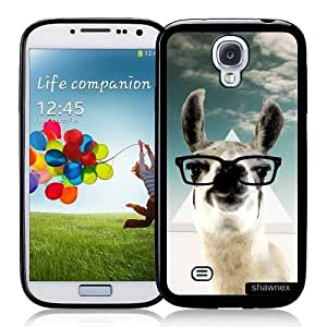 Cool Painting Galaxy S4 Case - S IV Case - Shawnex Hipster Llama Geek Glass Samsung Galaxy i9500 Case Snap On Case