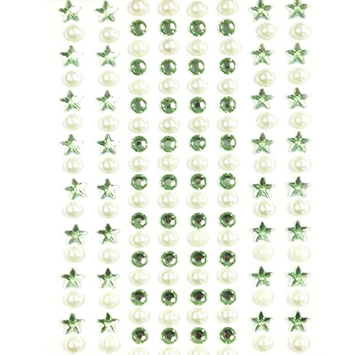 - AllyDrew 164 pieces Crystal Star and Pearl Stickers Adhesive Rhinestones, Light Green