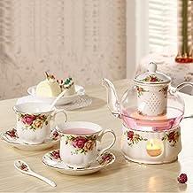 25 oz 700ml Glass tea maker teapot with a Porcelain warmer & 2 set of Porcelain Cup & Saucer & Spoon European style design