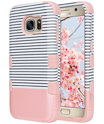 ULAK S7 Case, Galaxy S7 Case, 3 in 1 Hard PC+Soft Silicone Hybrid Dust Scratch Resistance Protective Cover for Samsung Galaxy S7 (Minimal Stripes Rose Gold) Will not Fit S7 Edge