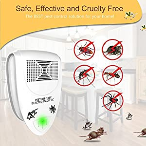 JUZIHAO 2018 UPGRADED Ultrasonic Pest Repeller [6-Pack] - Electronic Mice Repellent Plug In for Insect Mice, Mouse, Bed Bugs,Flea,Fly,Spiders, Mosquitoes, Roaches, Ants, Eco-Friendly,Humans&Pets Safe