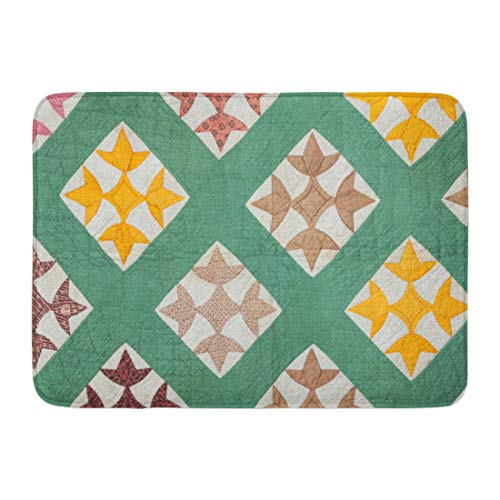 - Emvency Doormats Bath Rugs Outdoor/Indoor Door Mat Green Pattern Antique Hand Made Quilt from The Eastern Us in Late 1800S Yellow Vintage Bathroom Decor Rug Bath Mat 16