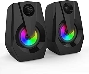 Computer Speakers, Boomer VIVI 2.0 USB Powered PC Computer Speakers with LED Lights 4Wx2, Speakers with Deep Bass in Small Body for Laptop Desktop, Black (PC Speaker)
