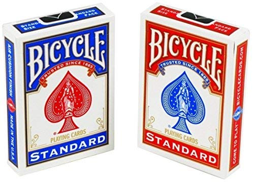 Bicycle Standard Face, Playing Cards Deck, 18 Packs (Red & Blue Color)