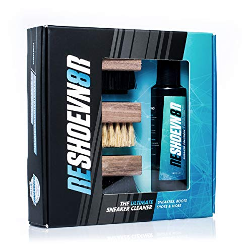 Reshoevn8r 4 oz. 3 Brush Shoe Cleaning Kit - All Natural Solution, Suitable for Most Materials (Best Way To Clean Timberland Boots)