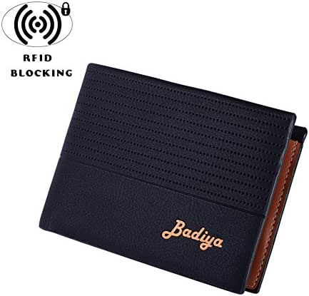 Badiya Men's Synthetic Leather Flipout ID Wallet Bifold/Trifold Hybrid RFID Blocking