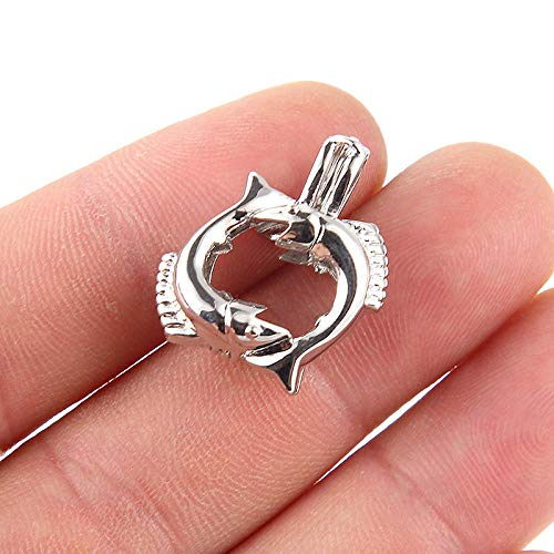 5X Silver Plated Double Hairtail Fish Pearl Cage Pendant Essential Oil Diffuser