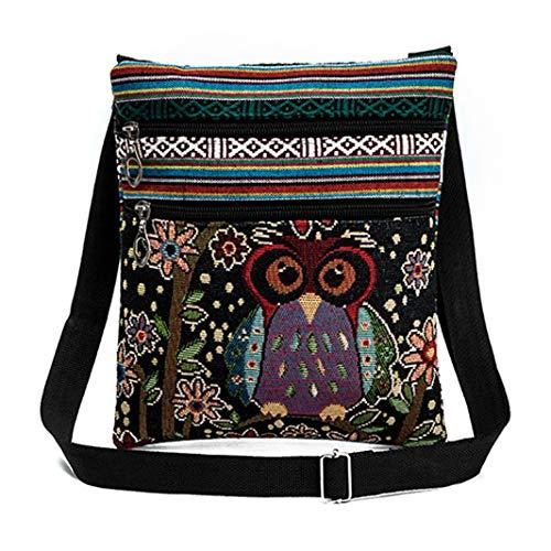 Vintage Ethnic Tribal Embroidered Owls Sling Crossbody Boho Hippie Shoulder Bag (9.3x8.3 Inches, D)