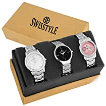 Swisstyle Analogue Black Pink White Dial Women's Combo Of 3
