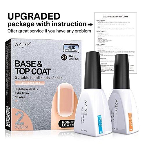 Base Coat No Wipe Top Coat Set for UV LED Gel Nail Polish LED Nail Lamp 0.4 Ounce Big Capacity by AZUREBEAUTY by AZUREBEAUTY (Image #3)