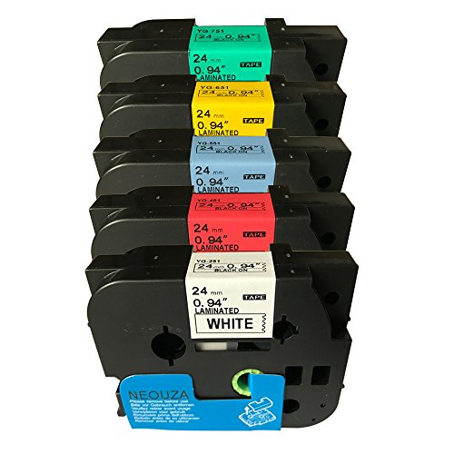 24 Color Print Cartridge - NEOUZA 5PK Compatible For Brother P-Touch Laminated Tze TZ Label Tape Cartridge 24mm x 8m (Set of Black Print on 5 Colors)