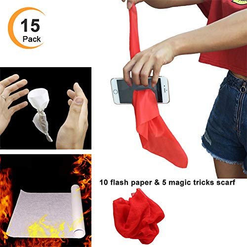 Eforoutdoor 15 PCS Amazing Magic Tricks 10 Magic Flash Paper Fire Flame to Rose Paper Fire Trick and 5 Pcs Scarf Penetrate Phone Tricks Magic Funny Silk Trick Toys for Magic Show Halloween Toy
