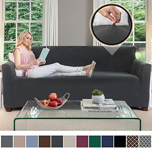 Gorilla Grip Original Fitted Velvet 1 Piece Large Sofa Protector for Seat Width to 70 Inch, Stretchy Furniture Slipcover, Fastener Straps, Spandex Couch Slip Cover Throw for Pets, Sofa, Dark Gray (Couch King Taylor)