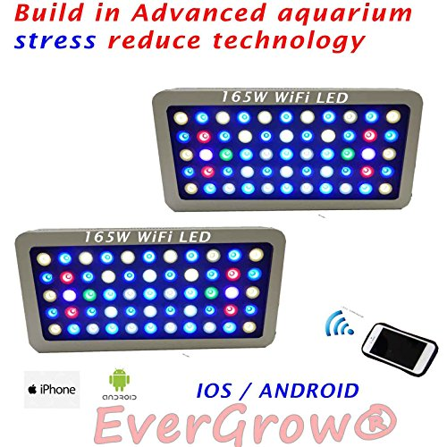 2PKS EVERGROW WIFI LED saltwater freshwater Aquarium Lighting Coral Reef android iphone white + FREE hanging kit - One Year Warranty by EVERGROW