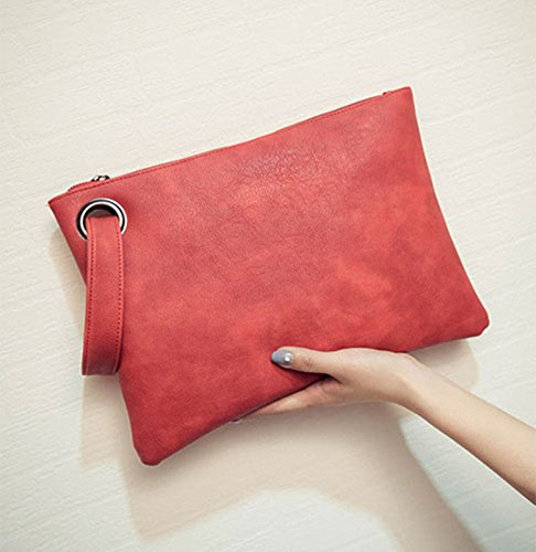 Womens Oversized ZOONAI Red leather Purse Evening Clutch Handbag Large Wristlet Bag qBI1q