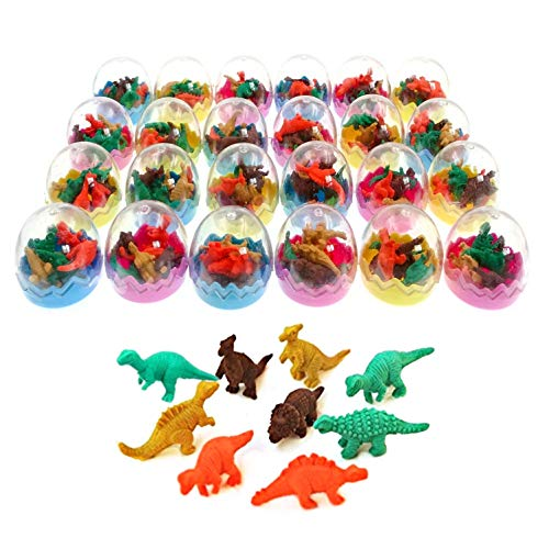 JZK 24 Dinosaur Eggs with Little Rubber Dinosaur Toy Mini Pencil Eraser Set for Children Party Favours Kids Birthday Party Bag fillers Birthday Gift for Boys Girls ()