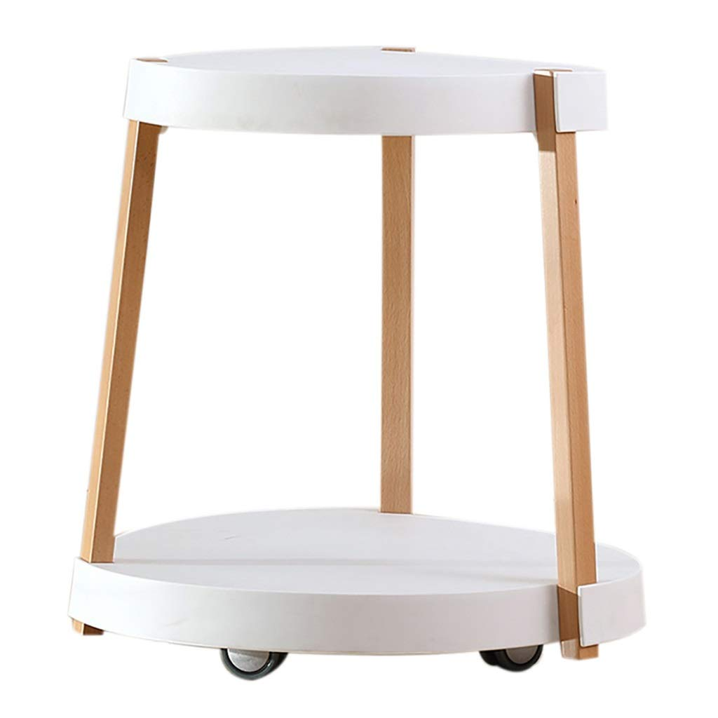 LYR Simple Design End/Side Table with Storage,Wood Look Accent Furniture with Wheels,Petite,White by LYR