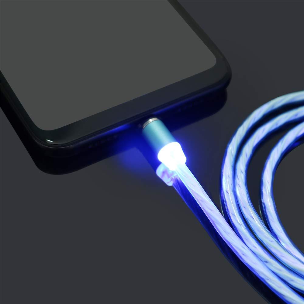Distinct/® 1m 3 in 1 Tipo C Cavo Magnetico Luminoso Verde Spina Rotonda LED Flash Cavi di Ricarica Android Compatibile con Galaxy Note 10 S10 Plus Moto G7 Z3 e altri dispositivi USB C LG G8 V50