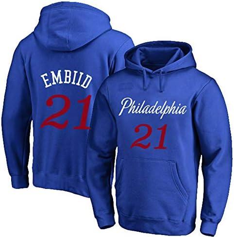 #21 Basketball Hoodie Sweatshirt、76ers EMBIID 21#Spring Sweatshirt、#21 Fan Training Wear Jersey Hoodie