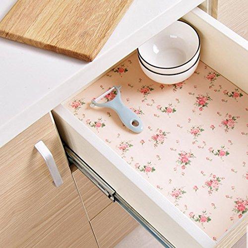 Kuke Shelf Liner Paper Beautiful Rose Pattern Non-Adhesive ...