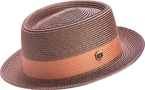 Montique Men's Two Tone Braided Pork Pie Hat (L, Coral)