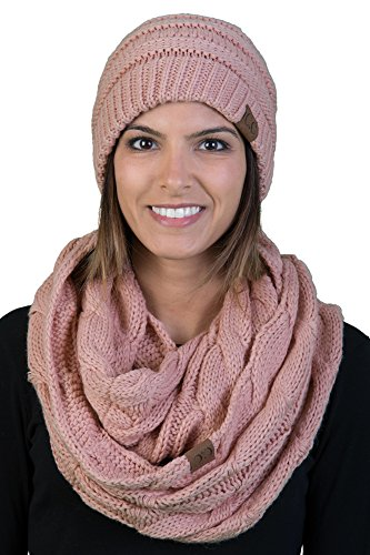 Solid Knit Polyester Hat - aHS-6020a-71 Regular Beanie Matching Scarf Winter Set Bundle - Indi Pink (Solid)