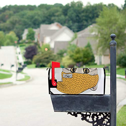 YSWPNA Cute Pets with Knitted Hat and Scarf Mailbox Covers Standard Size Original Magnetic Mail Cover Letter Post Box 21