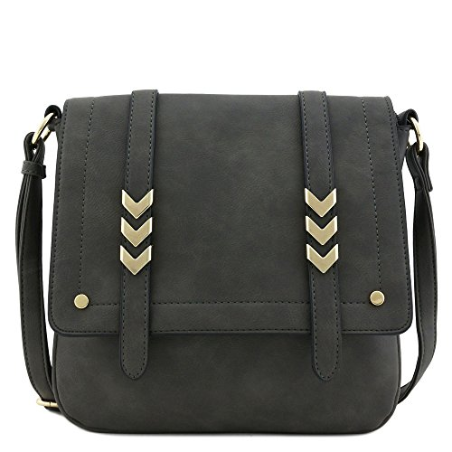 Shoulder Purse - Double Compartment Large Flapover Crossbody Bag (Charcoal Grey)