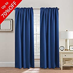 """H.VERSAILTEX Full Blackout Curtains for Bedroom, Thermal Insulated Window Drapes for Living Room, Rod Pocket/Back Tab - 2 Panels - Royal Blue - 52"""" W x 84"""" L"""