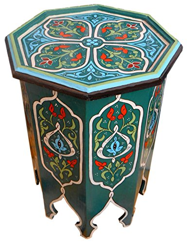 Moroccan Wood Side End Table Corner Coffee Handmade Hand Painted Moorish Green