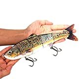 Sfeexun Lifelike 4 Segment Big Giant Sinking Fishing Bass Lures Artificial Hard Bait Swimbait for Fishing, Great for Fisherman Dad Gift (Spot)