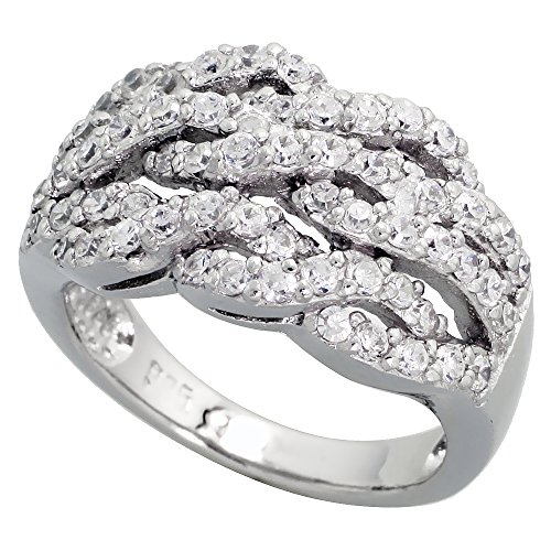 Sterling Silver Triple Rope Pattern Cubic Zirconia Ring with Brilliant Cut Stones, 1/2 inch (12 mm) wide, size 8 ()